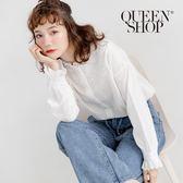 Queen Shop【01023376】菱形刺繡花邊領襯衫*現+預*
