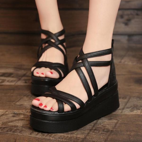 夏季新款學生鬆糕女鞋厚底中跟平底女涼鞋高跟露趾休閒羅馬鞋 雙十一全館免運