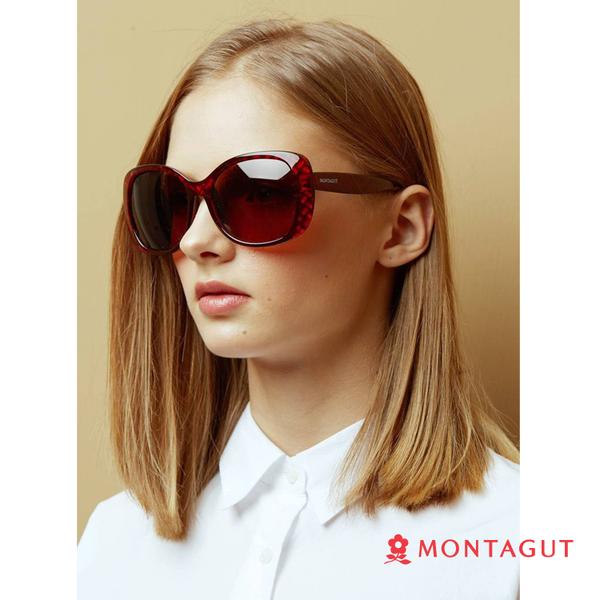 太陽眼鏡墨鏡偏光 夢特嬌 女款時尚菱紋-暗紅