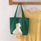 購物包 手拎環保購物袋2021新款軟萌小黃鴨帆布包女大容量單肩大包手提包【快速出貨八折鉅惠】