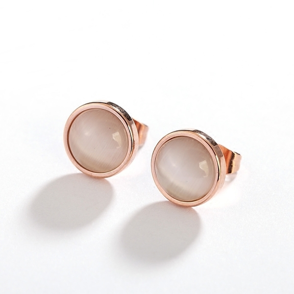 316L醫療鋼 圓形天然貓眼石 玫瑰金耳環耳釘針-白色、黑色 防抗過敏