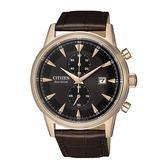 CITIZEN 光動能時尚計時兩眼腕錶-小牛皮錶帶-CA7008-11E