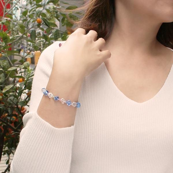 水晶手鍊-夏日冰鑽-活力藍水晶 石頭記