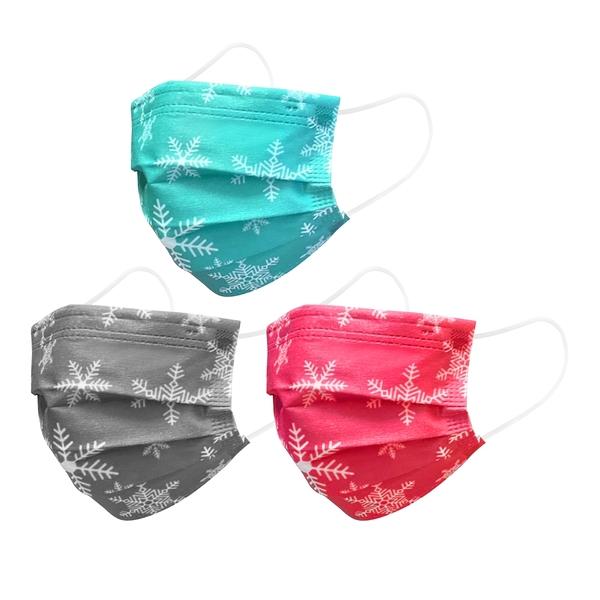 【3期零利率】預購 RM-A125 一次性防護彩色雪花口罩 50入/包 3層過濾 熔噴布 高效隔離汙染 (非醫療)
