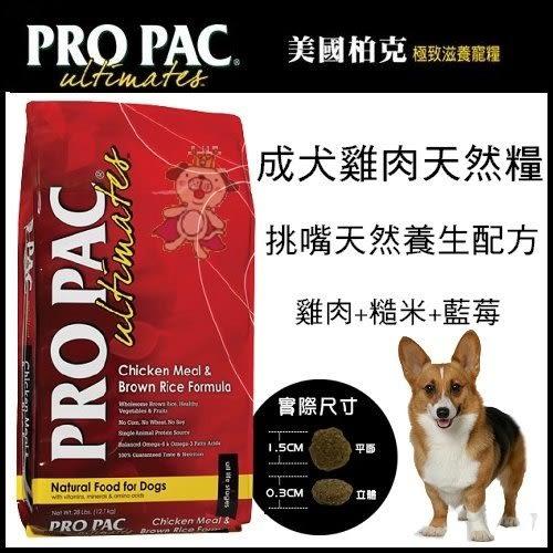*WANG*【美國柏克 PRO PAC】全天然成犬配方(雞肉+糙米+藍莓) 28lb