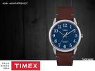 【萬年鐘錶】TIMEX INDIGLO冷光面板  40週年特別款 天空藍錶面 紅棕皮帶  38mm TW2R36000