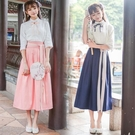 漢服 中國風女裝古裝服裝改良漢服學生班服少女古風裙子漢元素日常漢服 快速出貨