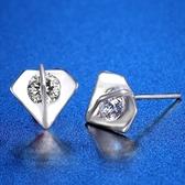 耳環 925純銀鑲鑽-獨特幾何情人節生日禮物女飾品73hk38[時尚巴黎]