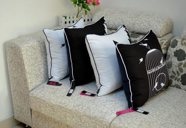 時尚黑白鳥籠印花沙發靠枕 抱枕 腰枕 靠背墊