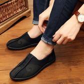 中國風老北京布鞋 網紅青春潮流休閒男鞋一腳蹬懶人鞋