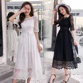 長洋裝 韓版 派對婚禮 小禮服 短袖 白色 伴娘 蕾絲 連身裙 長裙 花漾小姐【預購】