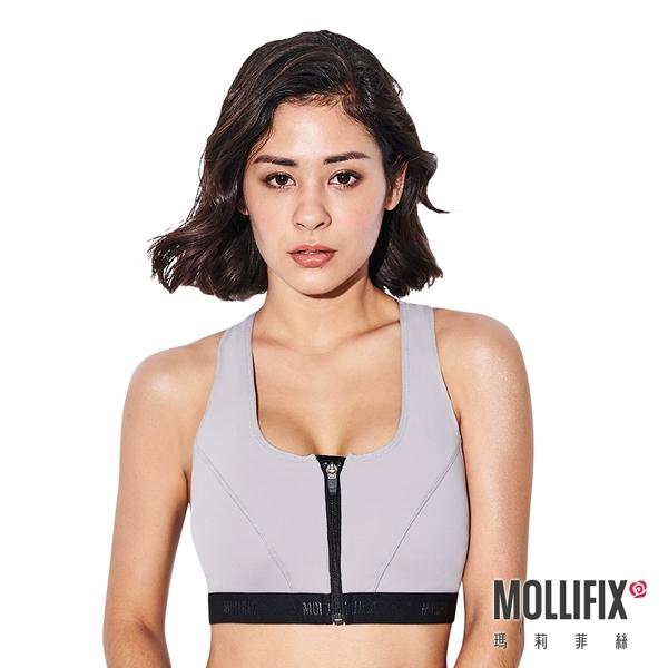 Mollifix 瑪莉菲絲 前扣高穩定下擺織帶運動內衣 (淡灰)