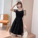 裙子洋裝99258實拍2種穿法一字領法式超仙中長網紗吊帶連衣裙GB507.胖胖唯依