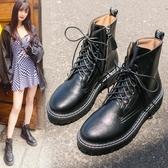 馬丁靴女新款百搭春秋單靴楊冪同款帥氣工裝鞋英倫風短靴子女