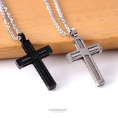 項鍊 項鍊 鋼製彈簧十字架造型 柒彩年代【NB741】