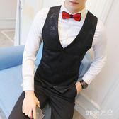 馬甲男西裝韓版潮西服薄款小修身暗花正裝青年發型師工裝男士外套 QQ20900『MG大尺碼』