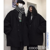 西裝外套秋冬中長款呢子大衣女流行韓版寬鬆赫本黑色情侶加厚毛呢外套 coco衣巷