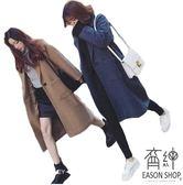 EASON SHOP(GU3601)韓版大口袋長版毛呢毛料西裝領長袖開衫西裝外套風衣大衣女上衣服寬鬆顯瘦駝色