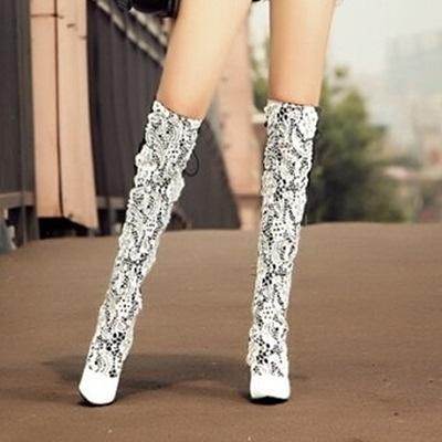 長靴-性感蕾絲時尚彈力粗跟真皮女過膝靴2色71ab40【巴黎精品】
