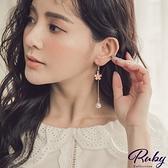 耳環 粉嫩櫻花珍珠垂墜耳環-Ruby s 露比午茶