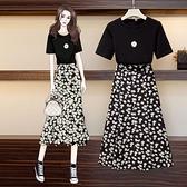 大碼胖mm小雛菊連身裙韓版寬鬆顯瘦遮肚子時尚減齡T恤半身裙套裝