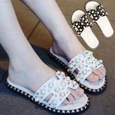 拖鞋兒童女童夏季可愛小公主時尚韓版一字拖珍珠拖鞋外穿擺拍涼拖   初見居家