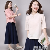 春夏新款民族風女裝復古文藝中國風盤扣純色寬鬆棉麻t恤茶服上衣 遇見生活
