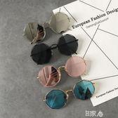 復古金屬鏤空圓形墨鏡反光太陽鏡