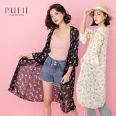 PUFII-罩衫 微透膚碎花長版罩衫外套- 0420 現+預 春【CP20060】