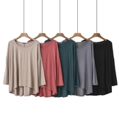 長袖T恤 莫代爾長袖打底衫女夏圓領薄款前短后長T恤大碼寬鬆純色上衣 - 雙十二交換禮物