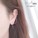 Lacuna.925純銀交叉C型耳骨扣一字流線垂墜穿針式耳環【s358】911 SHOP
