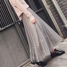 半身紗裙女秋冬仙女裙中長版百褶裙超火重工網紗裙