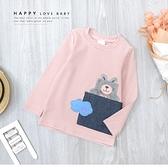 純棉 雲朵兔兔手機牛仔口袋條紋上衣 長袖 半高領 粉色 趣味 韓版 休閒 女童裝 女上衣 秋冬長袖