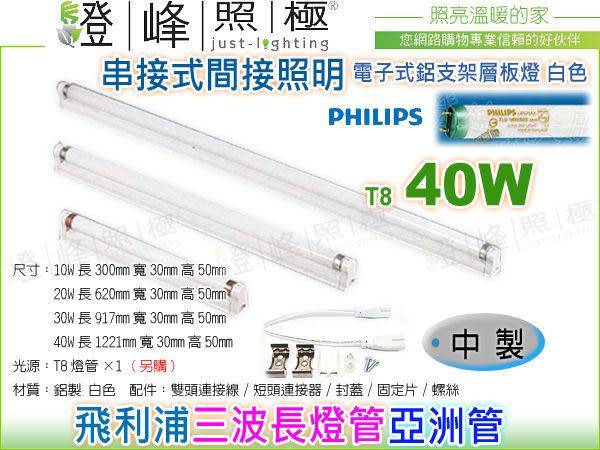 【層板燈】T8 電子式.40W 鋁支架層板燈(白) 中製 內置安定器 含飛利浦三波長燈管【燈峰照極】