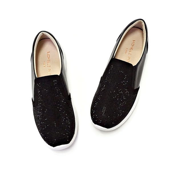 MICHELLE PARK 美好 ‧ 牛皮水鑽拼接厚底懶人鞋〈黑〉