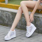 【雙11】夏季新款女鞋內增高休閒鞋厚底鬆糕鞋正韓百搭網鞋透氣小白鞋免300