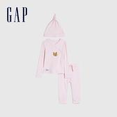 Gap嬰兒 純棉家居服三件套 622873-粉色細條紋