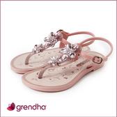 GRENDHA 金屬霓采花漾涼鞋-女童-粉/玫瑰金