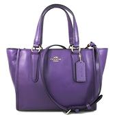 COACH 專櫃款 全皮革手提 肩背 斜背 多用途托特包(紫色)-33537