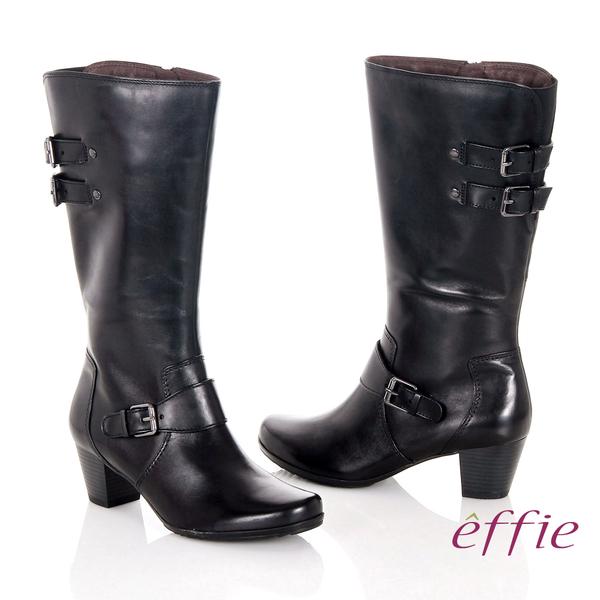 effie 魅力時尚 復古素面拼接方扣粗跟長靴  黑
