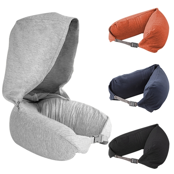 現貨!無印風 連帽頸枕 U型枕 飛機枕 便攜旅遊枕 護頸 通勤旅行 午睡枕 頭枕 #捕夢網