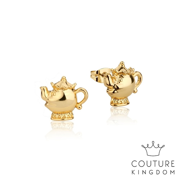Couture Kingdom 迪士尼美女與野獸 茶壺夫人鍍14K金耳釘 Beauty and the Beast Stud