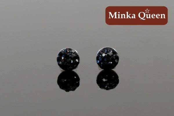 德國鈦鋼 滿鑽式水鑽球造型 黑色精緻水鑽抗敏耳環(一對)(6 mm)