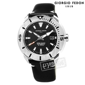 GIORGIO FEDON 1919 / GFCH004 / 機械錶 潛水錶 自動上鍊 藍寶石水晶玻璃 防水200米 真皮手錶 黑色 47mm