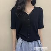 v領T恤 v領上衣女春夏2021新款復古溫柔薄款冰絲短袖黑色短款bm針織開衫 夏季新品