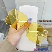 韓版無邊框墨鏡女一體超大框太陽鏡大臉顯瘦時尚潮方形遮陽鏡【櫻桃菜菜子】