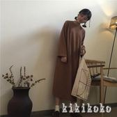 中大尺碼衛衣洋裝 秋冬新款純色長袖衛衣裙寬鬆顯瘦過膝連帽洋裝 DR1015 【KIKIKOKO】
