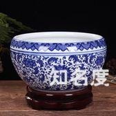 魚缸 陶瓷金魚缸烏龜缸復古典睡蓮碗蓮花盆大號瓷盆水仙水培瓷缸T 3色