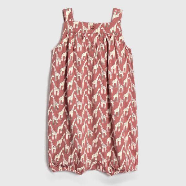 Gap女嬰兒 舒適印花無袖包屁衣 467718-木莓紅色