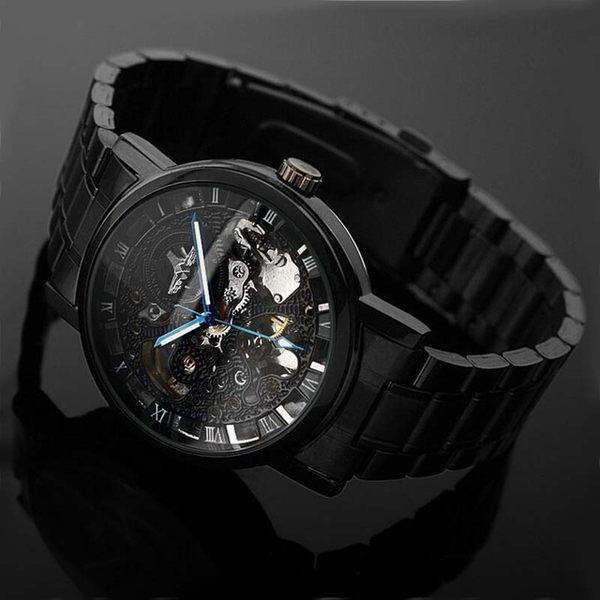 winner勝利者全黑自動機械手錶歐版浮雕印花設計鋼帶男表百搭時尚